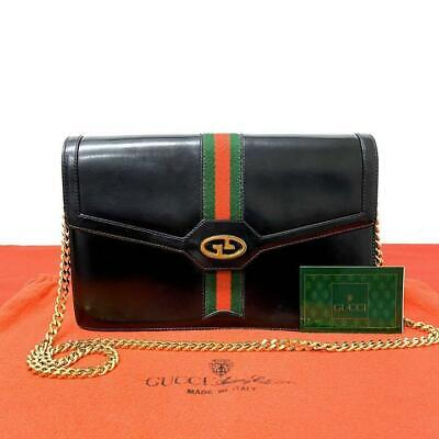 Gucci Vintage 2way Shoulder Bag 70s Leather Black Sherry Line Genuine FS from JP