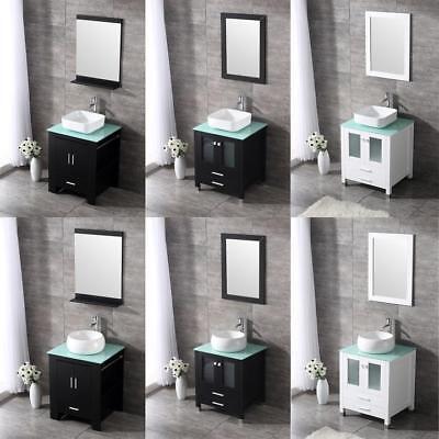 24  Modern Bathroom Single Vanity Cabinet W  Ceramic Vessel Sink Set   Mirror
