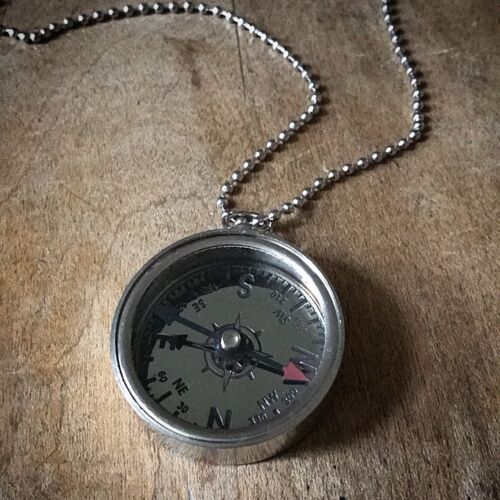Compass Necklace, Silver Toned Brass w/ Silver Face, Pendant & Chain