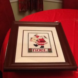 """Noel """"Santa"""" hand made cross stitch with frame"""