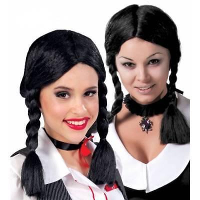 Halloween-kostüme, Schwarze Haare (Schwarz Haarzöpfe Schulmädchen Perücke Wednesday Gothik Halloween Kostüm)