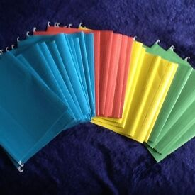 A4 Suspension folders for filing cabinet, various colours. VGC.