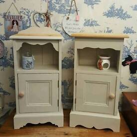 Painted soild pine bedside tables