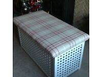 Ikea toy/storage box, painted and upholstered in laura Ashley Keynes fabric
