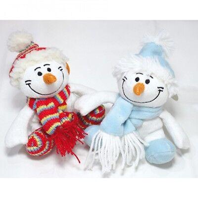 ganz niedlicher Plüsch Schneemann mit Schal und Mütze
