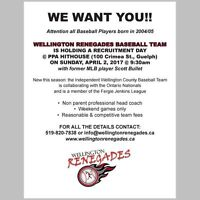 Wellington Renegades looking for 11U-13U players