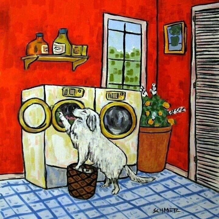 GREAT PYRENEES DOING A LAUNDRY ceramic dog art tile coaster gift