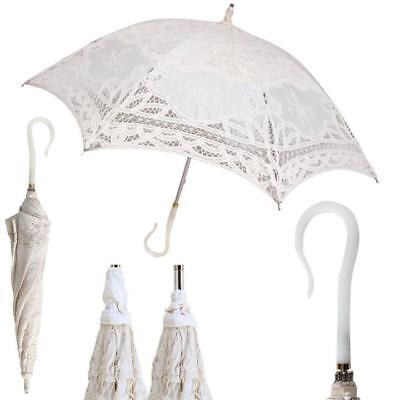 White Lace Umbrella (Ladies Stunning Lace Embroidered FANCY Stick Fashion Umbrella Bride)