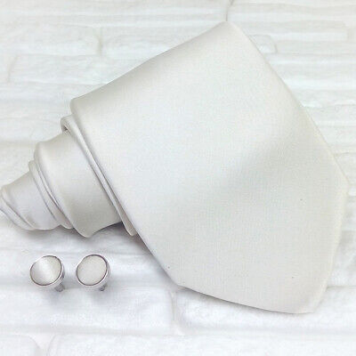 Cravatta uomo con gemelli Made in Italy bianco perla matrimoni regalo business