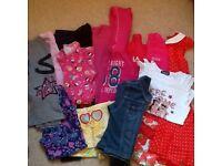 Bundle of girls clothes age 9-10 including denim jacket and Next summer dress