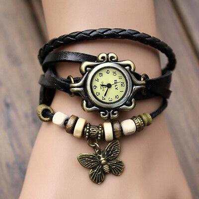 Women Vintage Charm  Butterfly Bracelet Faux Leather Quartz Wrist Watch Black