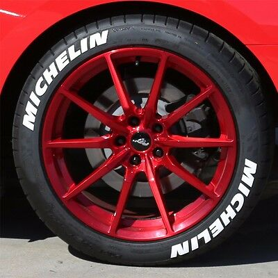 DODGE w// RED Dashes Permanent Tire Stickers 1.25in For 19in-21in Wheels 8pcs