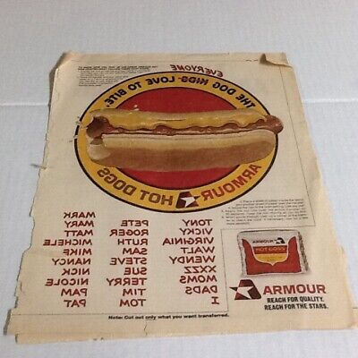 Vintage Amour Hot Dog Iron-On 1977 Woman's Day