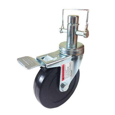 5 Scaffold Rolling Tower Caster 1 Inch Round Stem Hard Rubber Wheel Caster
