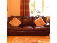 Brown leather 4 seater with chair and pouffe