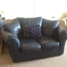Two sitter navy blue sofa, very good condition