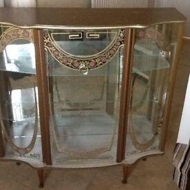 Vintage/Retro bow glass display cabinet