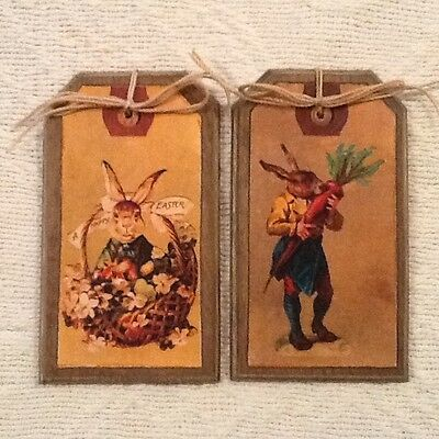 5 Wooden PRIM EASTER BUNNY Ornaments, Prim Rabbit Hang Tags Gift Tags SET38 - Bunny Ornaments