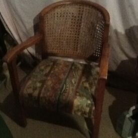 Antique small chair Bergere type unusual shape