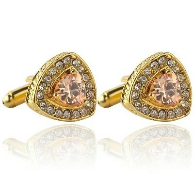 Gold Cuff Links Elegant Jewelry Triangle Crystal Zircon