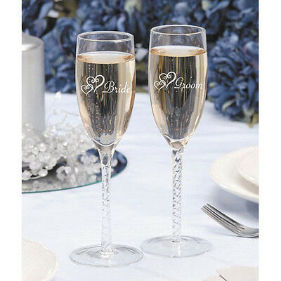 BRIDE & GROOM ETCHED CHAMPAGNE GLASSES TOASTING  FLUTES SET OF 2 VICTORIA LYNN](Engraved Champagne Glasses)