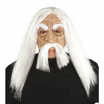 Halbes Gesicht Alter Mann Maske mit Weiß Haare Einstein's Erwachsene Kostüm