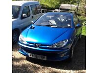 Peugeot 206cc Allure , met blue,convertible in fair condition with cream leather seats