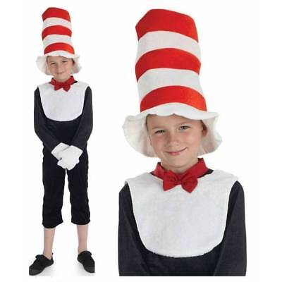 Cat In The Hat Costume For Girls (Kids Cat in the Hat Costume Mr Tom Boys Girls Fancy Dress Book Week Day)