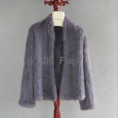 Thick Irregular Collar Real Knitted Rabbit Fur Cardigan Coat Jacket Garment Waim