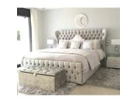 Black Silver and Cream Colours! New Double Atlanta Crushed Velvet Designer Bed and Mattress