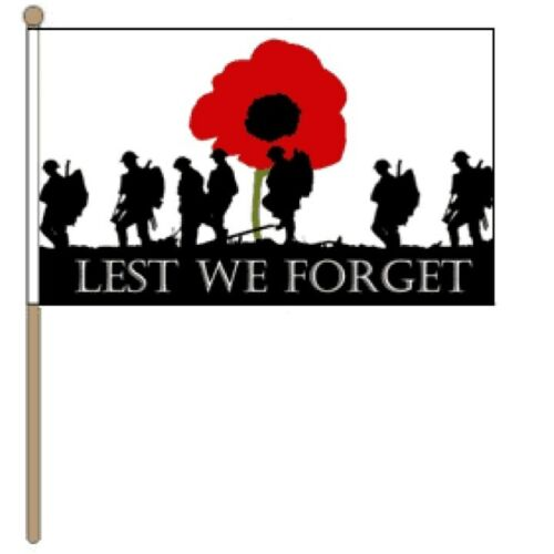 KIDS LEST WE FORGET HAND FLAG PATRIOTIC BRITISH ARMY ARMED FORCES DAY SUPPORT