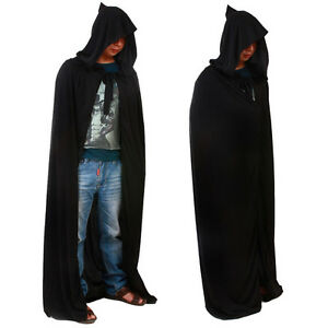 Deluxe Black Hooded Cloak Cape Long Vampire Halloween Fancy Dress Wedding Wicca