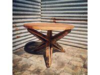 Bespoke Oak Garden/Coffee table with oak barrel stabs