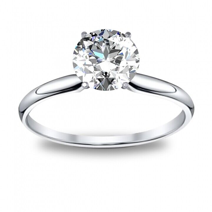 AUTHENTIC Round Cut Diamond Engagement Ring Solitaire - GIA Certfied G-H/VS1-VS2