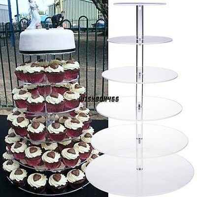 6 Tier Clear Acrylic Round Cupcake Stand Tower Wedding Birthday Party Display IX