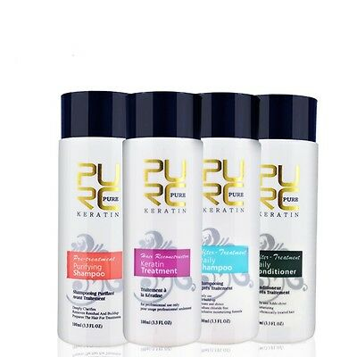 Set 4 For Hair Straightening Pure Brazilian Shampoo Conditioner Formalin Keratin