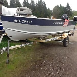 16 foot deep wide Sylvain Boat with 40 hp Tohatsu