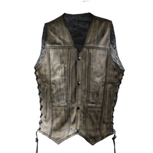 Mens Distressed Brown Motorcycle Vest With 10 Pockets