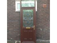 Half glass Mahogany pvc door with window light