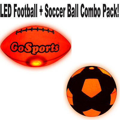 GoSports Light Up Bright LED Football & Soccer Ball Combo Pack *Free Shipping*