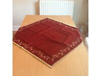Red and gold velvet Christmas Tablecloth