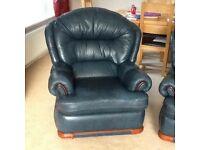 Blue 3 piece leather suite £75 or nearest offer
