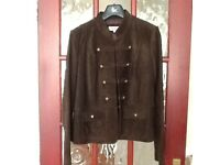 Chocolate coloured suede jacket short