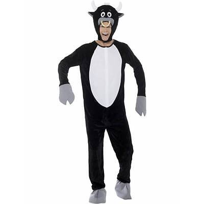 Black Bull Costume Adult Mascot FULL Plush Jumpsuit Head Mask Womens Mens Unisex