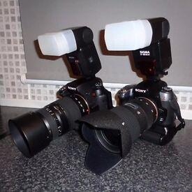 Sony 2x DSLR, 4x lens, 2x flash complete shooting kit