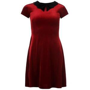 Ladies Womens Jilted Generation Bat Collar Skater Dress Red Velvet S UK10 DD30