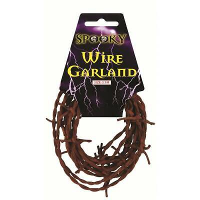 Rusty Soft BARBED WIRE Garland Decoration Halloween Party Barb Wire 1,2,or 3 - Barbed Wire Garland