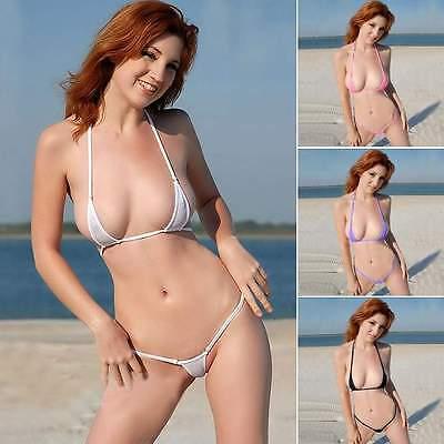девушки в мини-бикини прозрачные фото на пляже