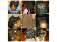 Black Afro Caribbean Hair Hairdressing Hairdresser Salon & Mobile Dreadlocks Naturals Braids kids