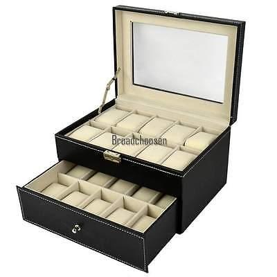 Uhrenbox für 20 Uhren Uhrenkoffer Uhrenkasten Uhrenschatulle Uhrentruhe NEU